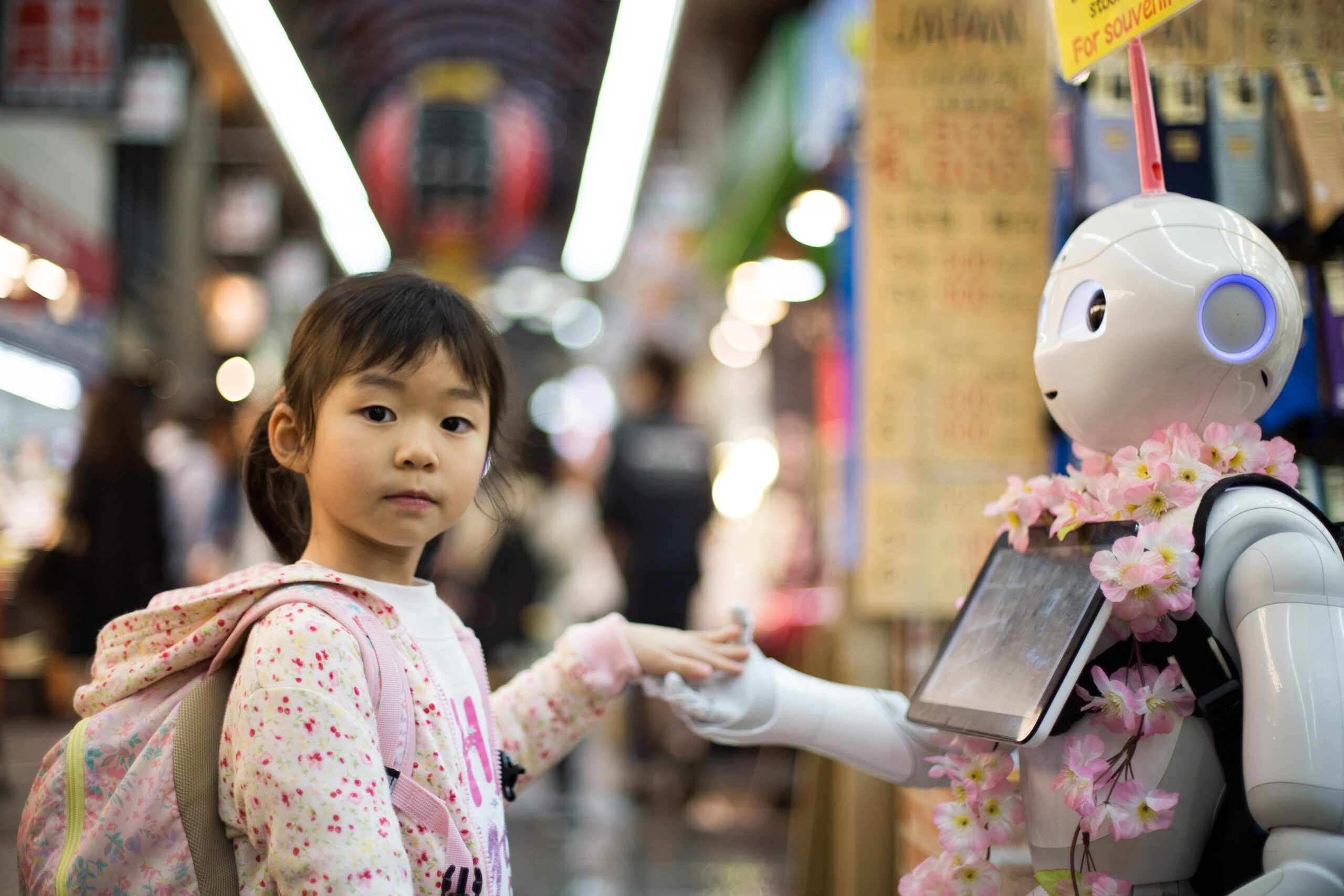 Little girl with robot